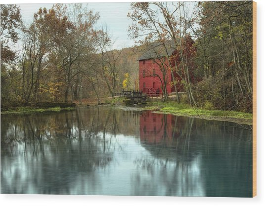 Grist Mill Wreflections Wood Print