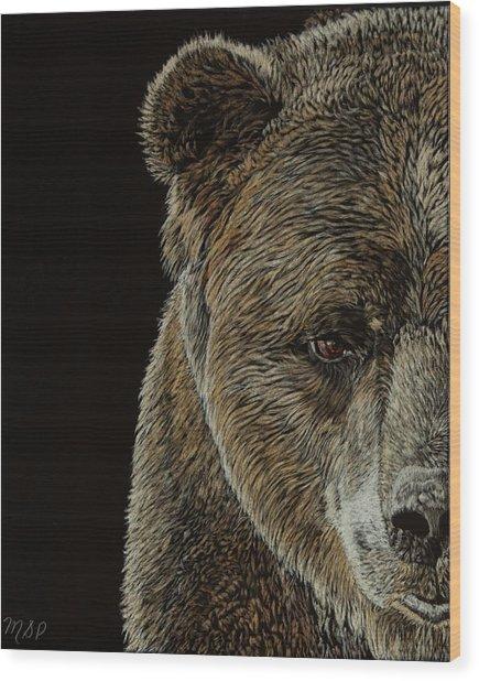 Grizzly Eye Wood Print