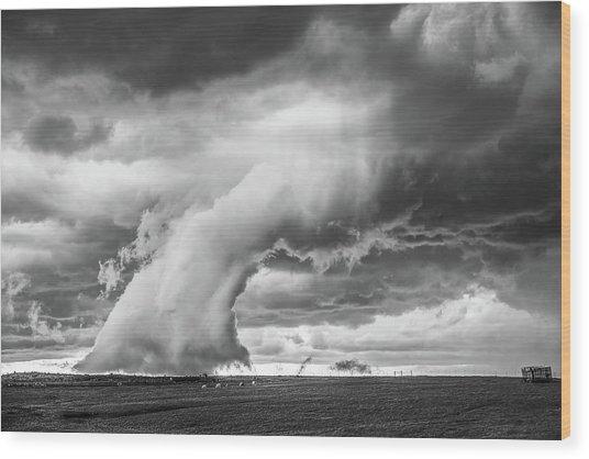 Groom Storm Bw Wood Print