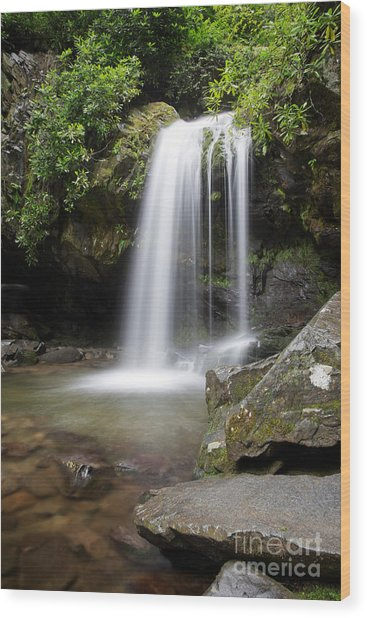 Grotto Falls Vertical Wood Print