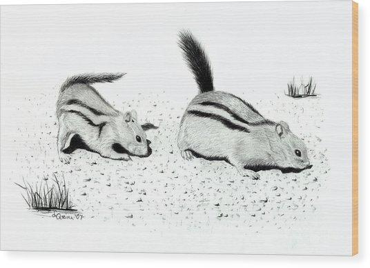 Ground Squirrels Wood Print