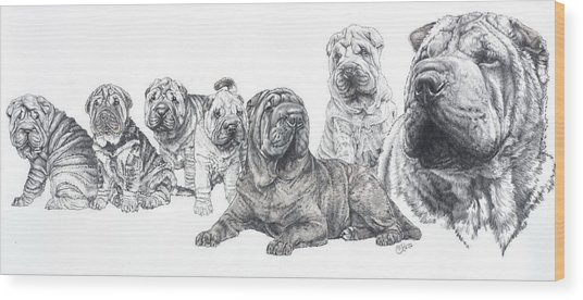 Mister Wrinkles And Family Wood Print