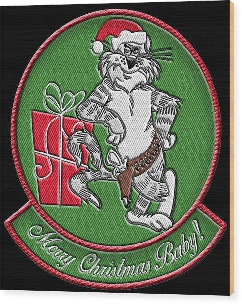 Grumman Merry Christmas Wood Print