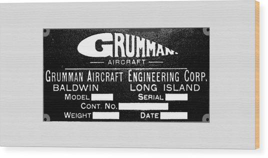 Grumman Product Plate Wood Print