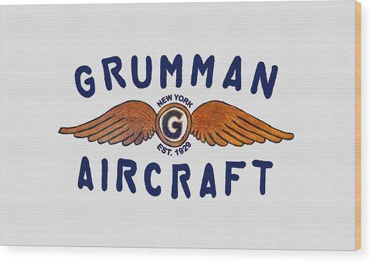 Grumman Wings Blue Wood Print