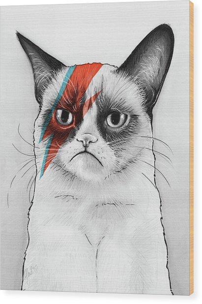 Grumpy Cat As David Bowie Wood Print