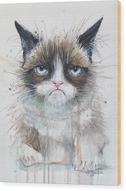 Grumpy Cat Watercolor Painting  Wood Print