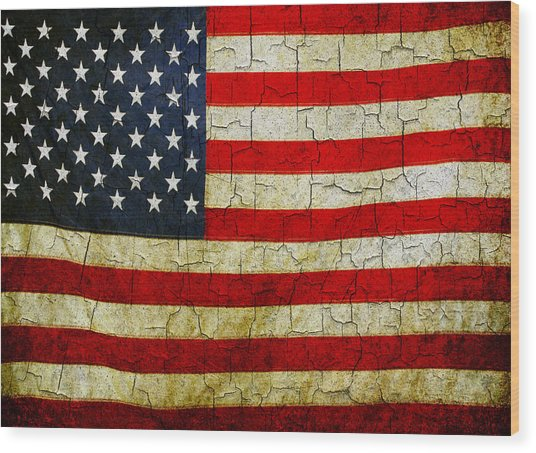 Grunge American Flag  Wood Print