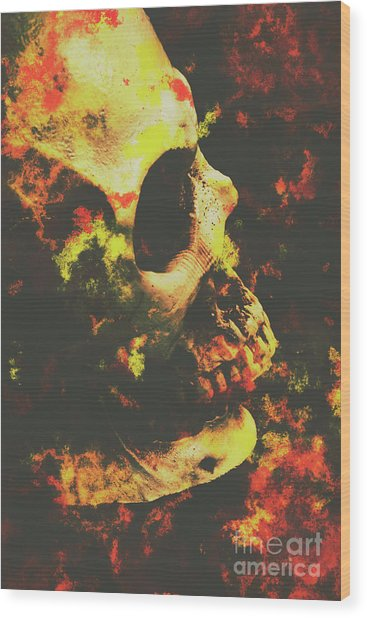 Grunge Frightener Wood Print