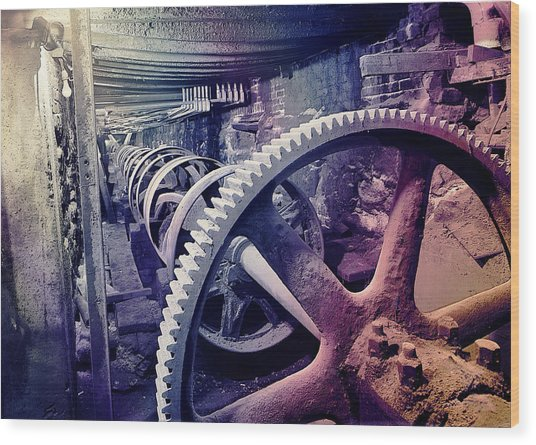 Grunge Large Gear Wood Print