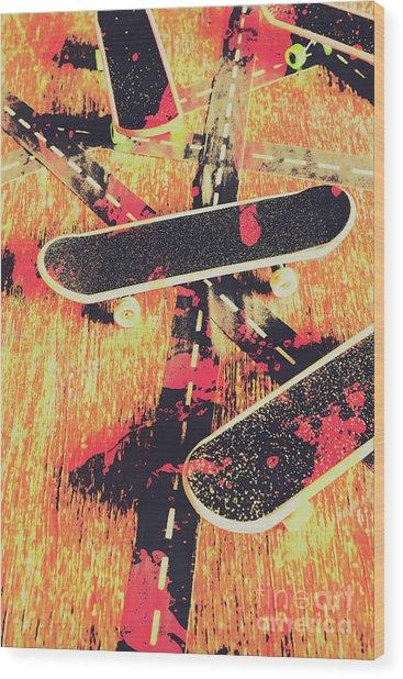 Grunge Skate Art Wood Print