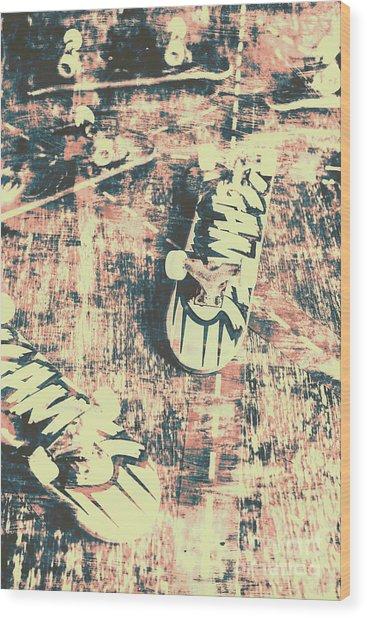 Grunge Skateboard Poster Art Wood Print