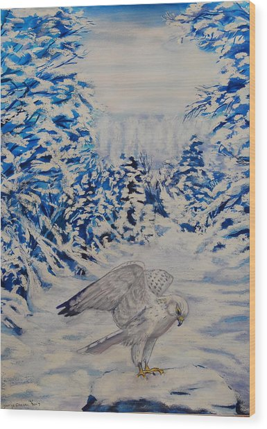 Gryfalcon In Taos Wood Print by George Chacon