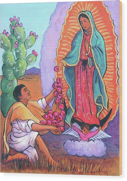 Guadalupe And Juan Diego Wood Print