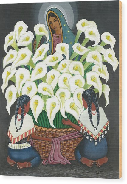 Guadalupe Visits Diego Rivera Wood Print