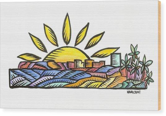 Guam Sunset 2009 Wood Print by Marconi Calindas