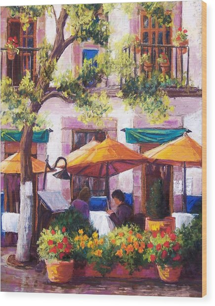 Guanajuato Cafe Wood Print by Candy Mayer