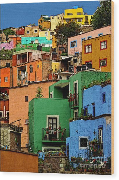 Guanajuato Hillside 2 Wood Print by Mexicolors Art Photography