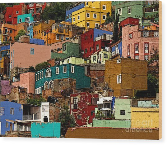 Guanajuato Hillside 4 Wood Print by Mexicolors Art Photography