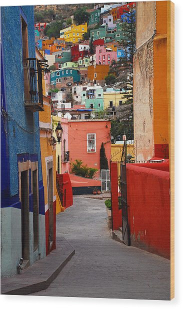 Wood Print featuring the photograph Guanajuato Lane by Skip Hunt