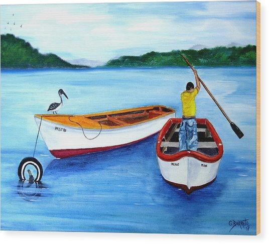 Guanica Fisherman Wood Print