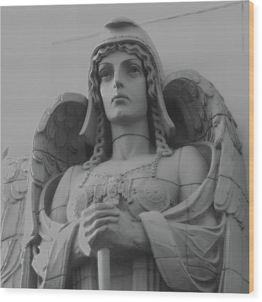 Guardian Angel On Watch Wood Print