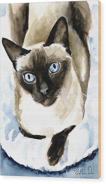 Guardian Angel - Siamese Cat Portrait Wood Print