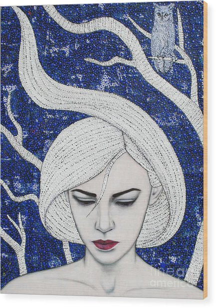 Wood Print featuring the mixed media Guardian Of The Night by Natalie Briney