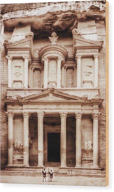 Guarding The Petra Treasury Wood Print