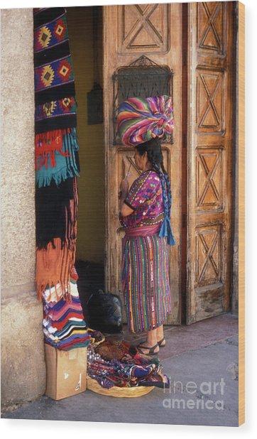 Guatemala Maya Textile Vendor Wood Print