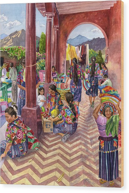 Guatemalan Marketplace Wood Print