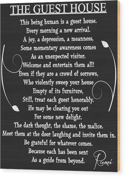 Guest House Poem Rumi Wood Print