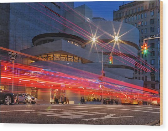 Wood Print featuring the photograph Guggenheim Museum Nyc Light Streaks by Susan Candelario