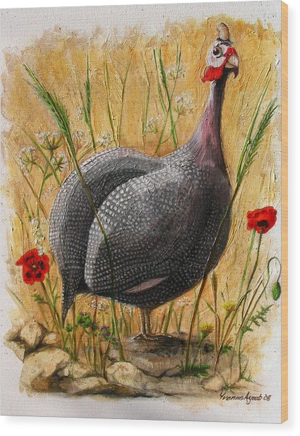Guinea Fowl With Poppies Wood Print by Yvonne Ayoub