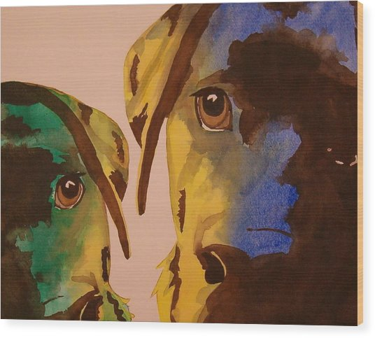Guiness Green And Bella Blue Wood Print