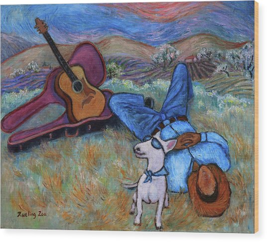 Guitar Doggy And Me In Wine Country Wood Print