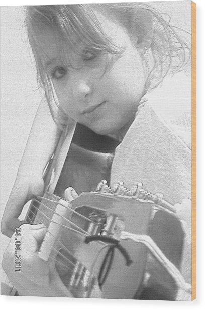 Guitar Girl Wood Print