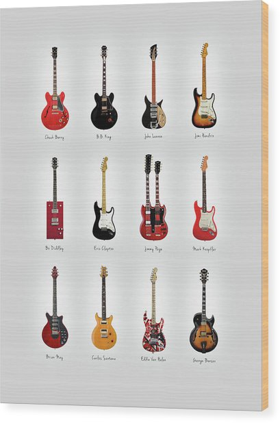 Guitar Icons No1 Wood Print