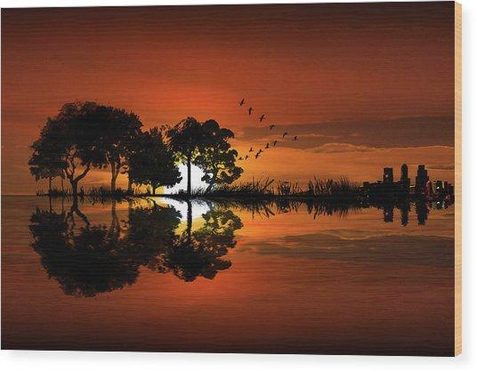 Guitar Landscape At Sunset Wood Print