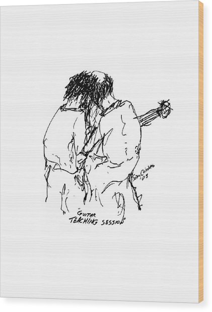 Guitar Lesson Wood Print by Sam Chinkes