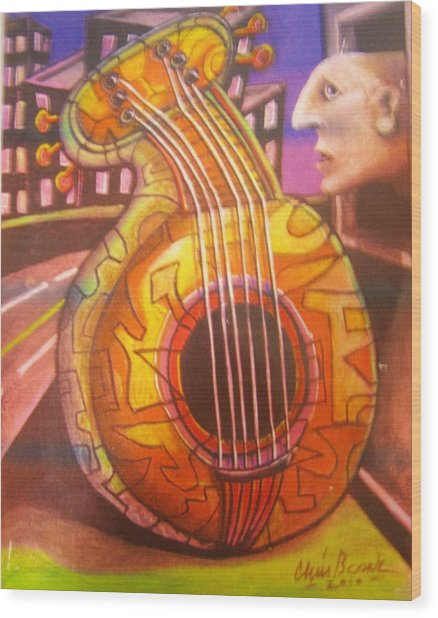 Guitar Out My Window Wood Print