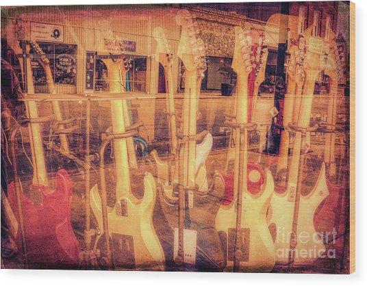 Guitar Reflections Wood Print