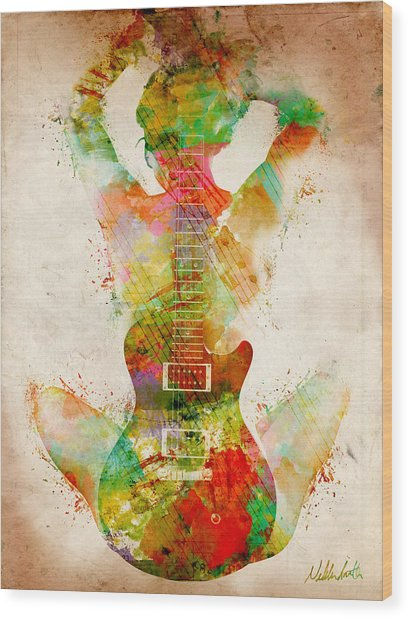Guitar Siren Wood Print