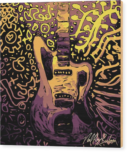 Guitar Slinger Wood Print