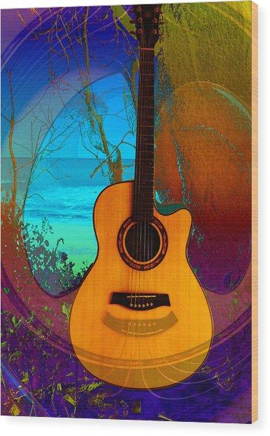 Guitar Tree Wood Print by Shadowlea Is