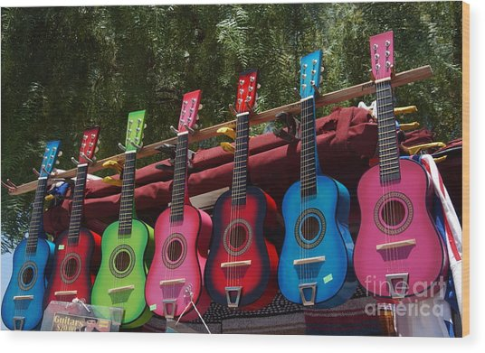 Guitars In Old Town San Diego Wood Print