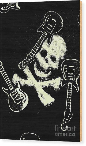 Guitars Of Black Metal Wood Print