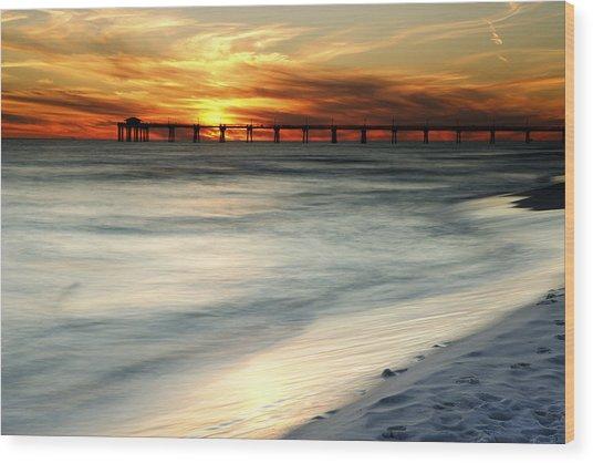 Gulf Coast Pier Wood Print by Eric Foltz