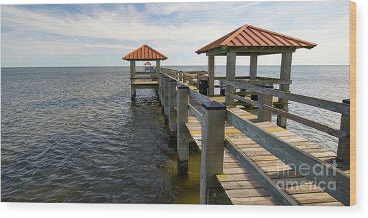 Gulf Coast Pier Wood Print