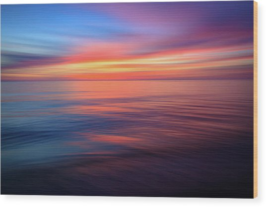 Gulf Coast Sunset Ocean Abstract Wood Print
